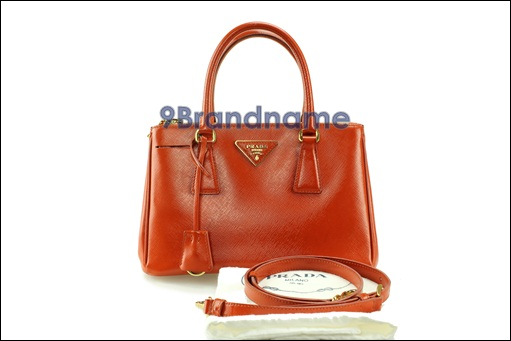 Prada Saffiano Lux Double Zip Patent With Strap Size 25 Papaya - Used Authentic Bag
