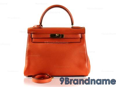 Hermes Kelly 28 Orange Swift Leather Gold Hardware - Used Authentic Bag
