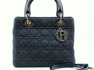 Christian Dior Lady Dior 10 Denim SHW - Used Authentic Bag