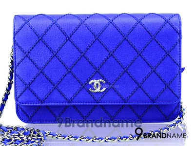 Chanel Wallet On Chain Fancy Royal Blue Quilted Calfskin SHW - Used Authentic Bag