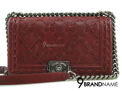 Chanel Boy 10 Red Burgundy Caviar Suede SHW - Used Authentic Bag