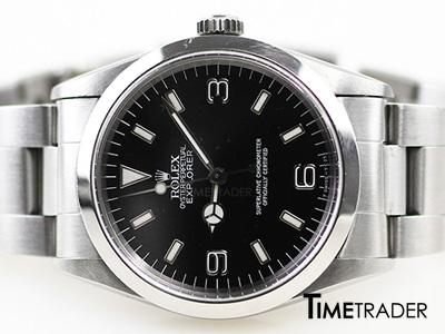 Rolex Explorer1 Steel Man Size นาฬิกาโรเล็กซ์ เอ็กซ์พลอเรอร์ หน้าปัดสีดำหลักขีดและตัวเลขอาราบิก สายเหล็กเต้าหู้ ขายนาฬิกาโรเล็กซ์ของแท้มือสอง สภาพดีค่ะ