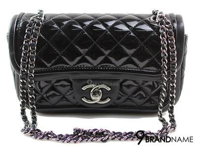 Chanel Classic 8 Black Limited 2 Leather Lamp & Patent SHW  - Used Authentic Bag กระเป๋าชาแนลคลาสสิค ไซส์8นิ้ว ลิมิเต็ด2หนัง สีดำ หนังแก้ว หนังแกะ ขายกระเป๋าชาแนลของแท้ มือสองสภาพดีค่ะ