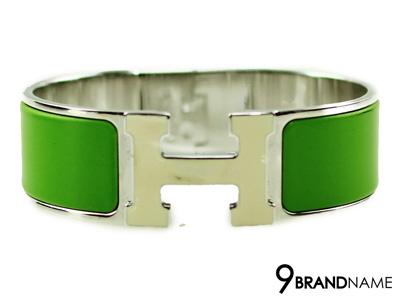 Hermes Click Clack Green Steel SHW - Used Authentic ข้อมือแอร์เมส เซลามิคสีเขียว ของแท้มือสองสภาพดีค่ะ