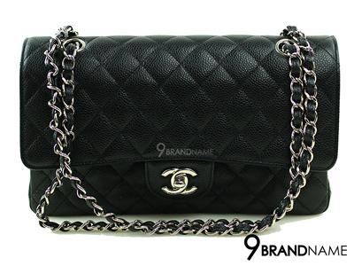 Chanel Classic 10 Black Carviar SHW- Used Authentic Bag กระเป๋าชาแนล คลาสสิค ไซส์10นิ้ว สีดำหนังคาเวีย อะไหล่สีเงิน รุ่นนิยมตลอดกาล ของแท้ใหม่ค่ะ