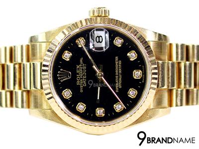 Rolex Oyster Perpetual Datejust Gold  หน้าปัดดำ หลักเพชร สายตัน วันที่ ขนาด Boy Size 31มิล ทองแท้ทั้งเรือน บานพับมงกุฏ หรูหรา หน้าปัดดำเด่นตัดเพชรสวยมากๆค่ะ