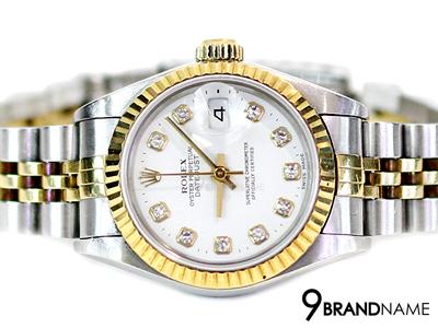 Rolex หน้าขาว หลักเพชร ขอบหยัก Date สายจูบิลี่โปร่ง 2กษัติย์  Lady Size