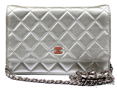 Chanel Wallet On Chain In Metallic WOC - Used Authentic Bag
