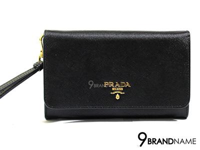Prada Wallet Clutch Saffiano Nero 1M1438 กระเป๋าตังค์พราด้า มีสายคล้องมือ ถือถนัด ใช้สะดวก สีนี้นิยมสุดๆค่ะ