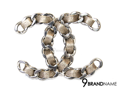 Chanel Chanel Brand New 2016 Gold CC Gold Metallic Leather Chain Large Brooch