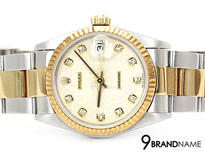 Rolex Date Just 2K Yellow Gold Com Creem Diamond Boy Size