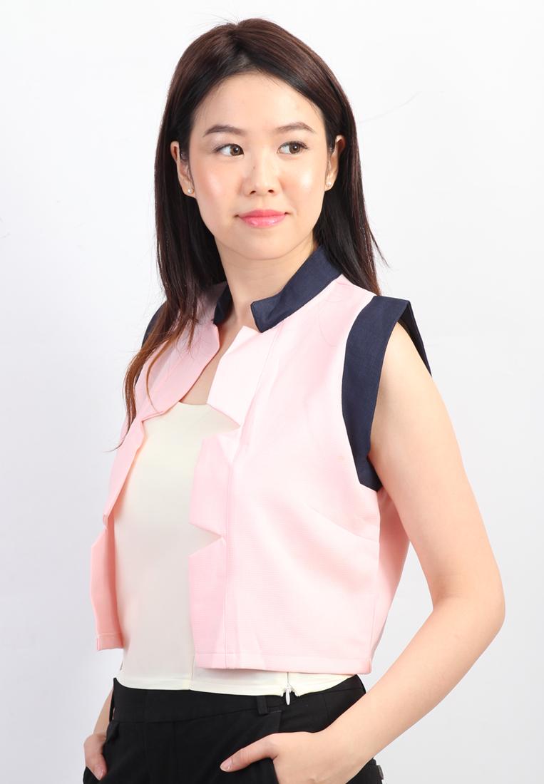 Sleeveless Blazer (Pink)