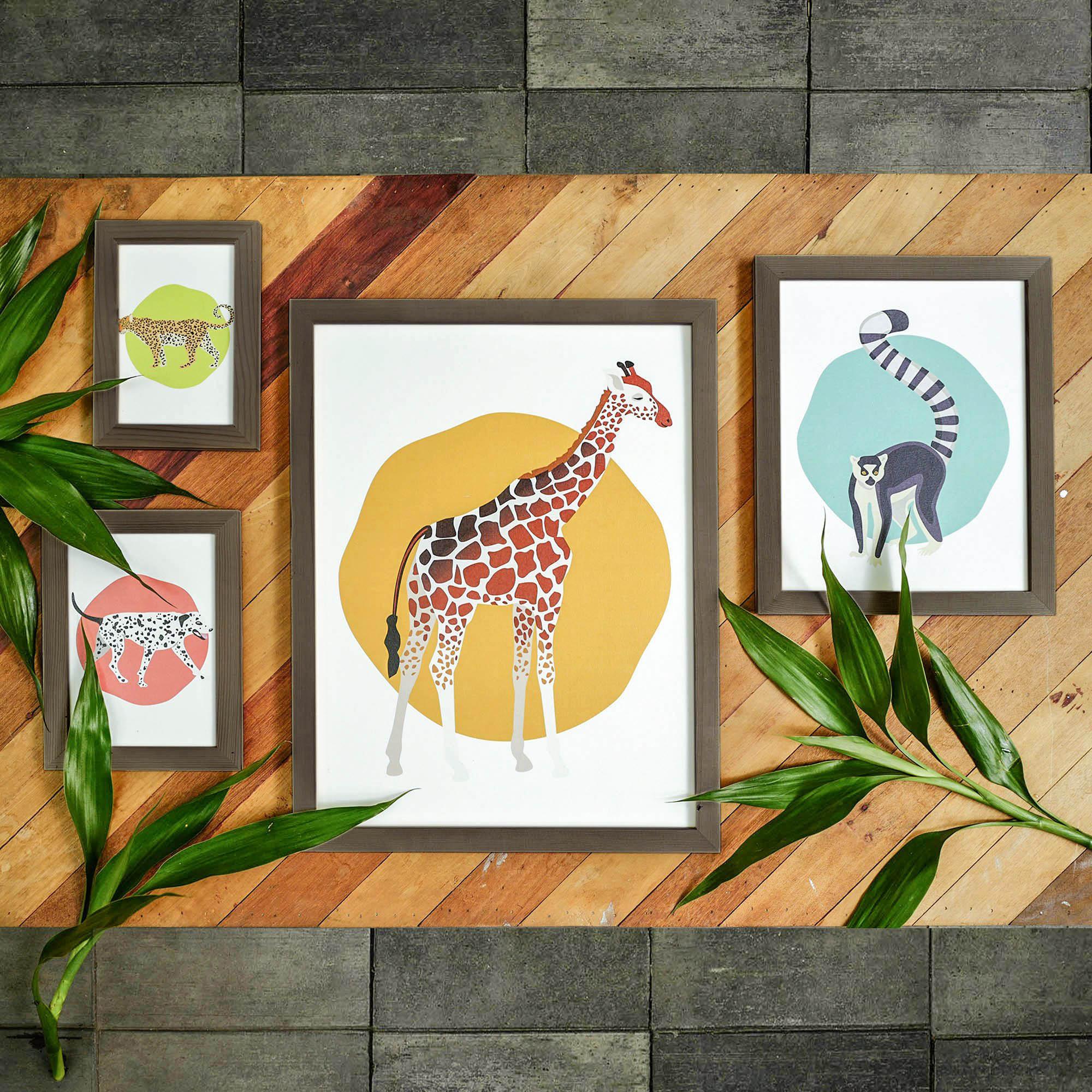 กรอบรูปสีเข้ม+ภาพชุดสัตว์