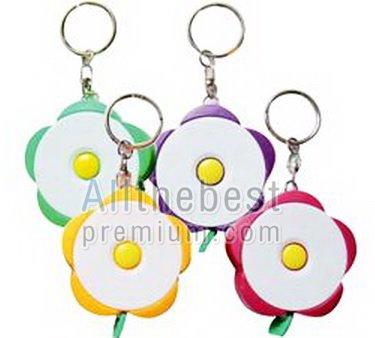 พวงกุญแจตลับเมตร ดอกไม้มีปุ่มล็อค
