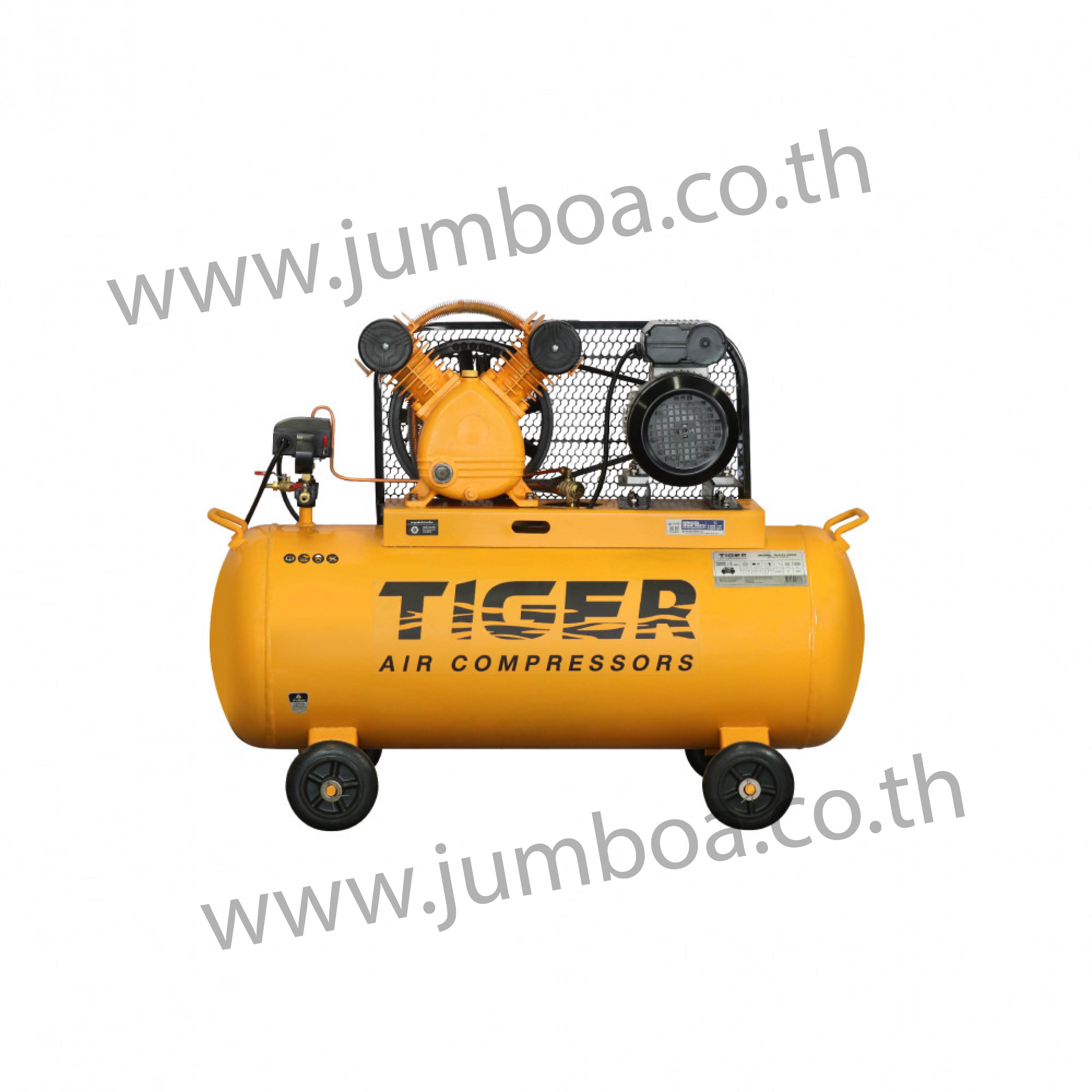 ปั๊มลมสายพาน TIGER TGA21-100M 1HP มอเตอร์ 2HP 220V. ถัง 100 ลิตร