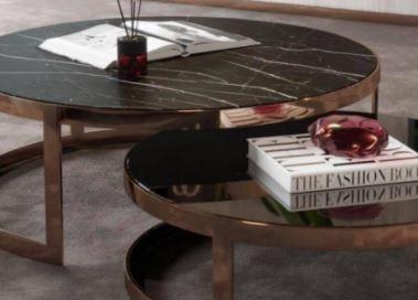 Lua Dual Black Marble Coffee Table