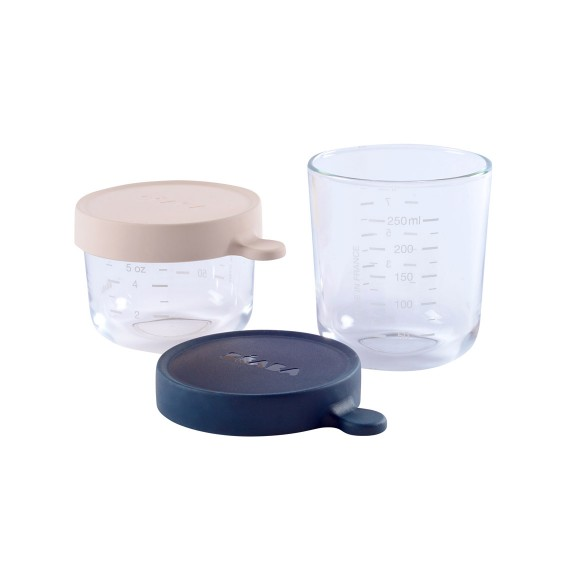 Set of conservation jars in superior quality glass (1*150 ml PINK/1*250 ml DARK BLUE)