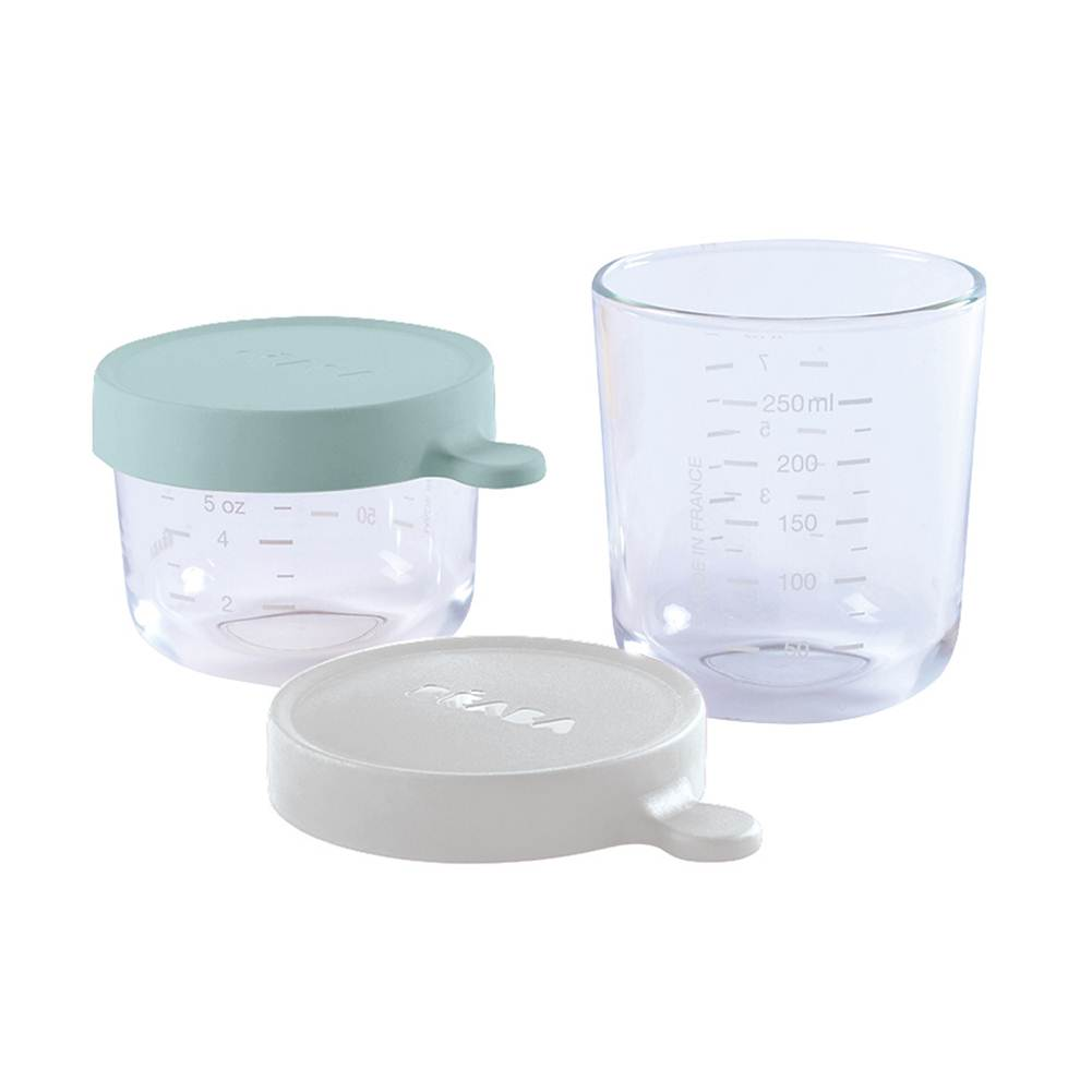 Set of 2 conservation Jars in Glass (150 ml AIRY GREEN / 250 ml LIGHT GREY)