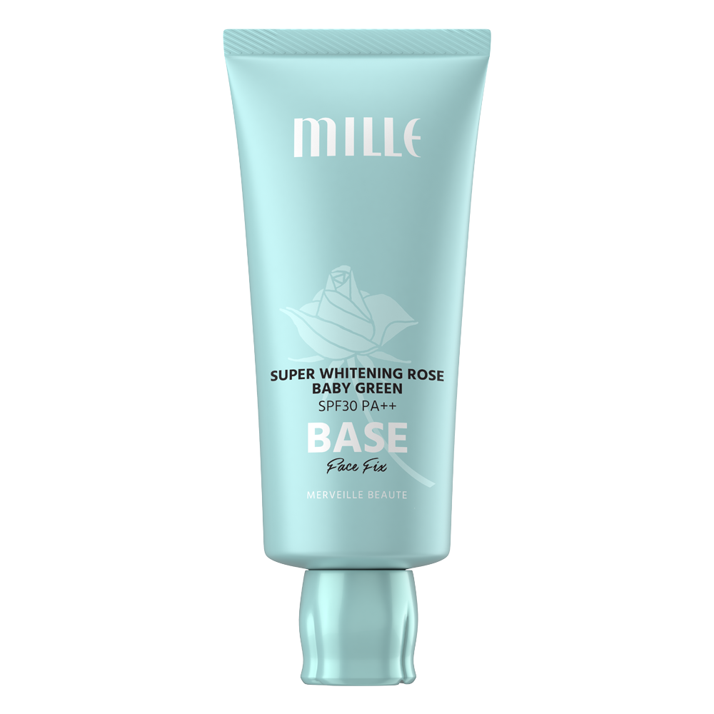 MILLE SUPER WHITENING ROSE GREEN BASE SPF30 PA++ FACE FIX 30G.