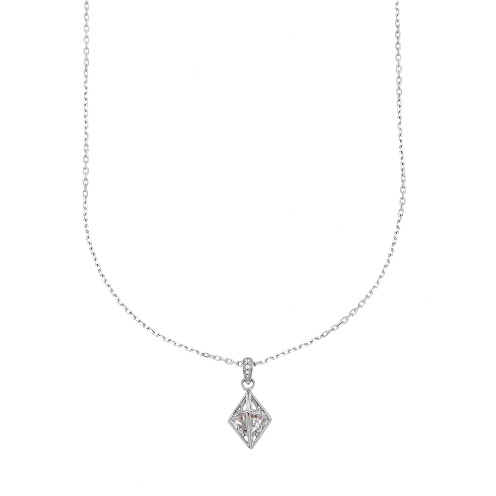 Lanna Rhombus Lantern Rhodium Necklace