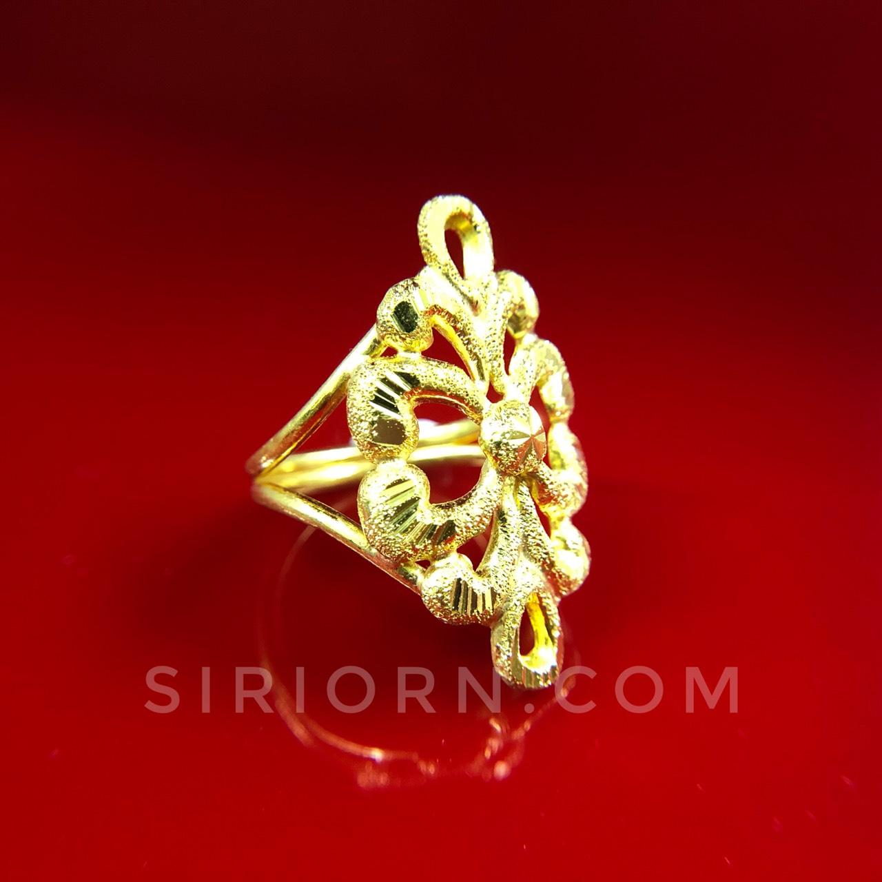 แหวนทองคำแท้ 96.5%ลายกนกโปร่งจิกเพชรตัดลาย