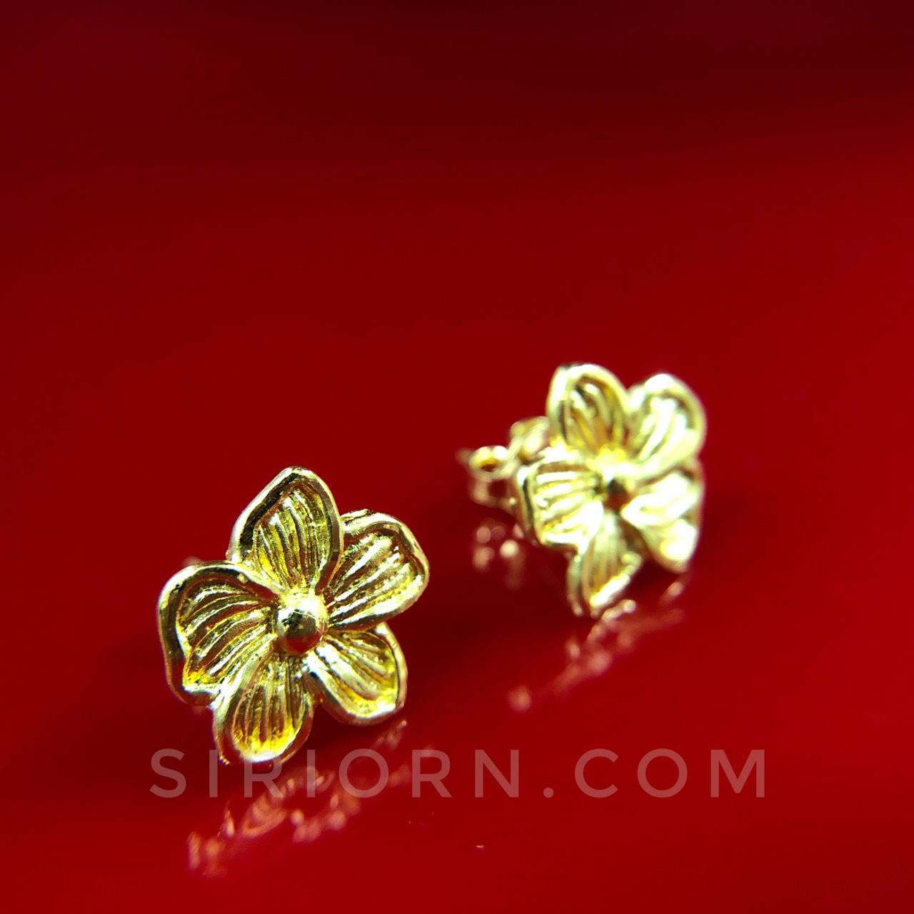 ต่างหูทองคำแท้ 96.5% ลายดอกลีลาวดี