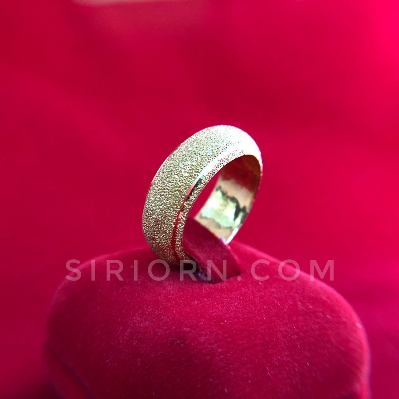 แหวนทองคำแท้ 96.5% ลายปอกมีดโปร่งจิกเพชร