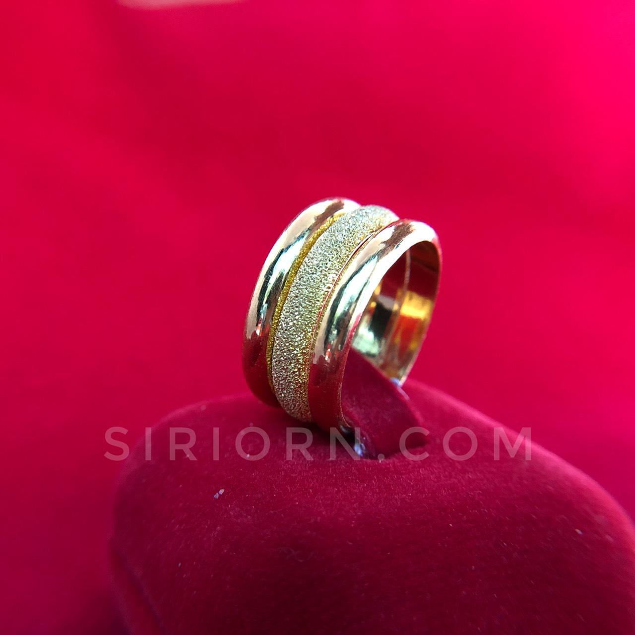 แหวนทองคำแท้ 96.5%  ลายปอกมีดโปร่งกิ๊ปจิกเพชร3วง