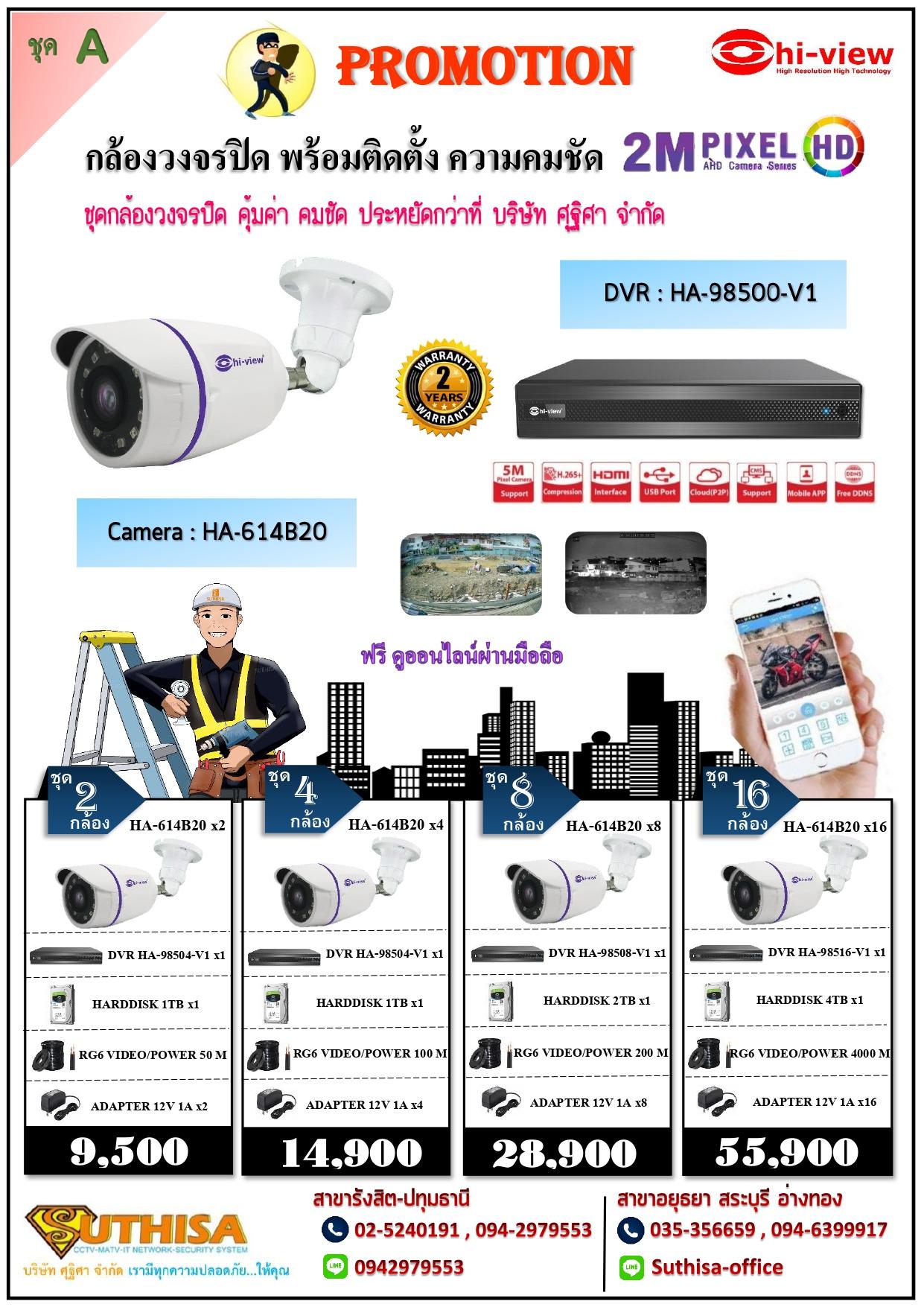 กล้องวงจรปิดไฮวิว AHD Camera 2.0 MP พร้อมติดตั้ง (ชุด A)