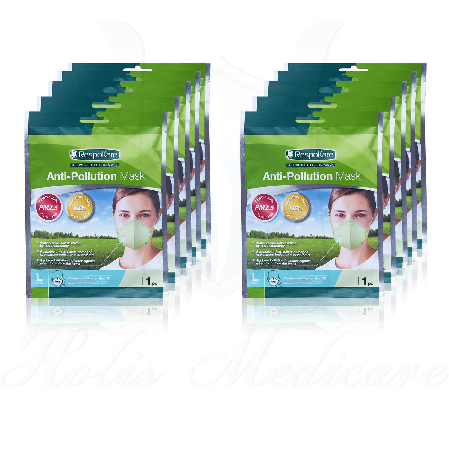 RespoKare Anti-Pollution Mask Adult (L size) 10 pieces