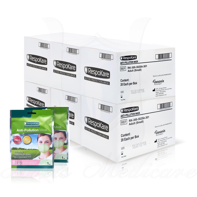 RespoKare หน้ากากป้องกันมลพิษและฝุ่นควัน ขนาดเล็ก(S) จำนวน 6กล่อง/ 120ชิ้น