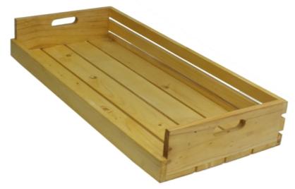 Bakery crate ลังไม้ต่างระดับ 2 ด้าน สีธรรมชาติ 32x72x10 cm.