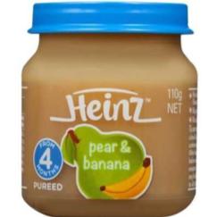 HEINZ PEAR & BANANA 110 G.อาหารสำหรับเด็กรสลูกแพร์และมะม่วง 110 กรัม