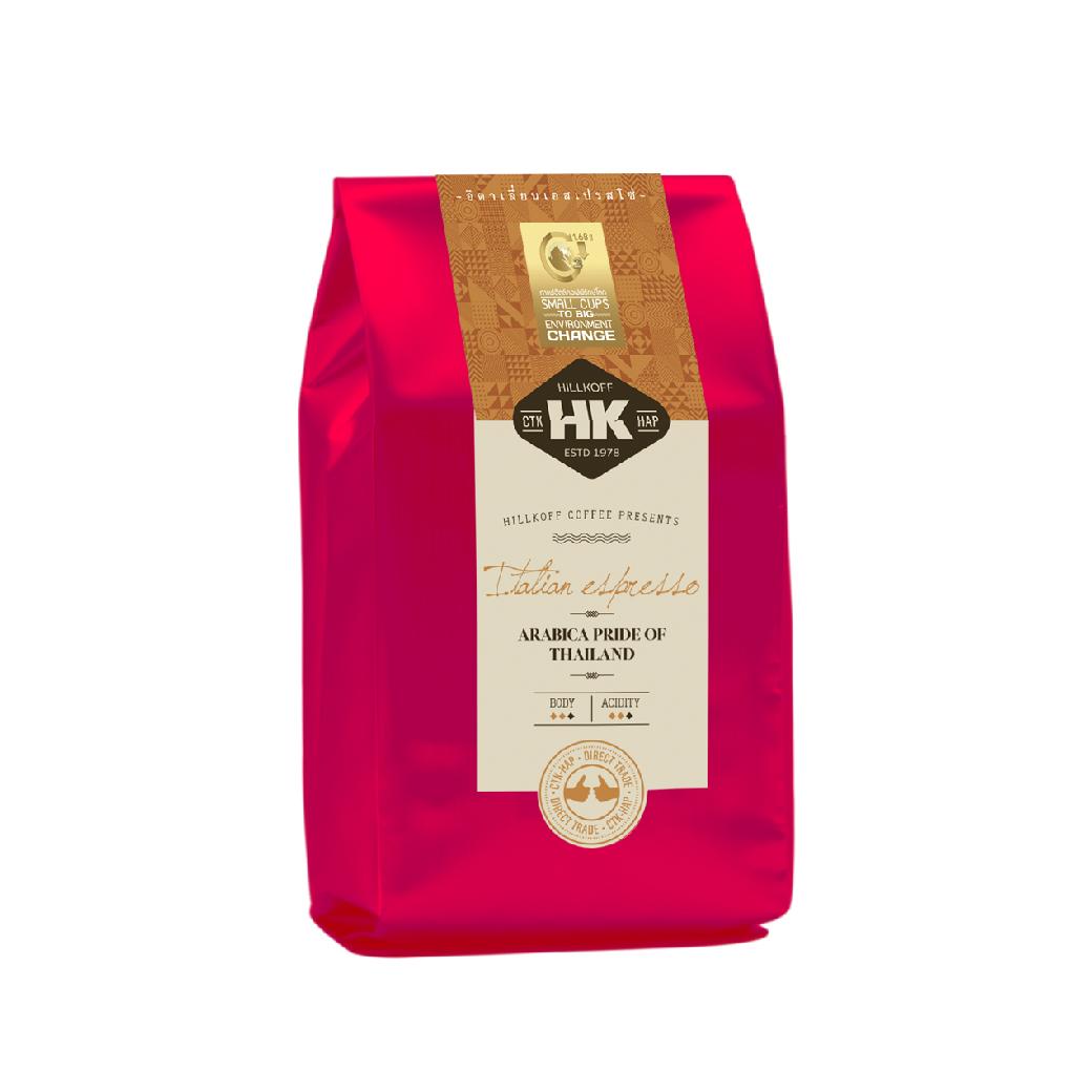 Hillkoff Arabica Coffee : กาแฟอราบิก้าแท้ 100% คั่วกลาง ตรา ฮิลล์คอฟฟ์ (Italian Espresso Roast) 500 กรัม