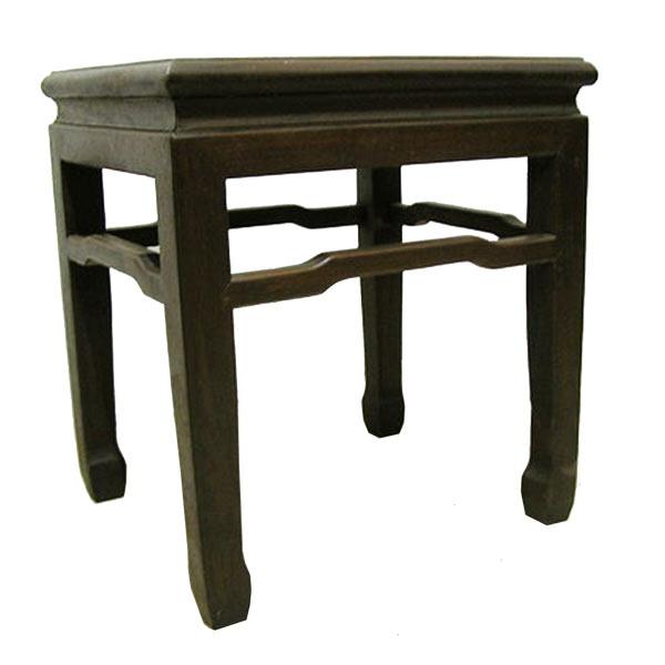 โต๊ะข้าง-ม้านั่งไม้แต่งขอบบัวสไตล์จีน 50 ซม.