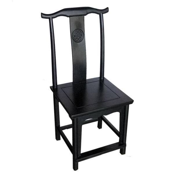เก้าอี้ไม้พนักสูงทรงหมวกขุนนางจีนสีดำ