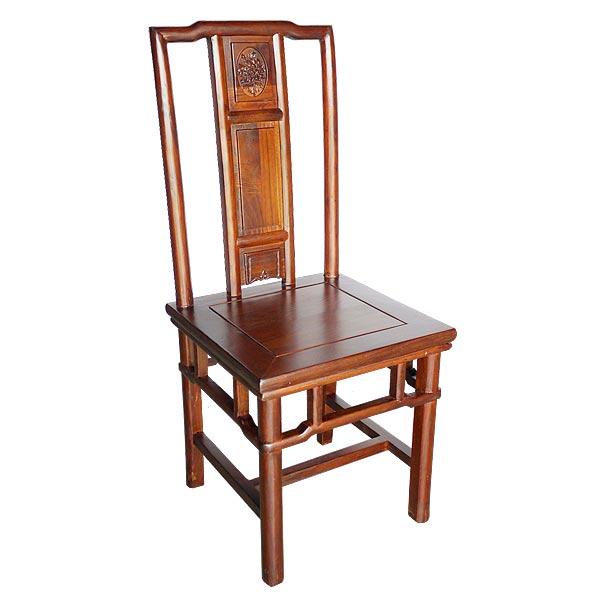 เก้าอี้ไม้พนักสูงสไตล์จีนโบราณลายดอกไม้