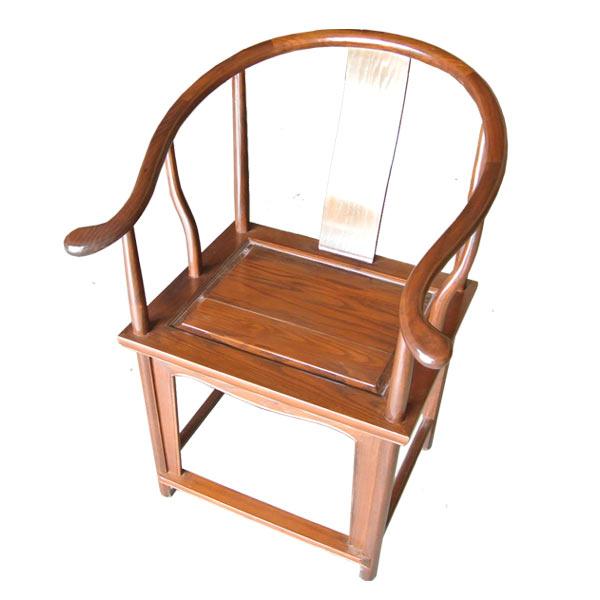 เก้าอี้เท้าแขนโค้งสไตล์จีนคลาสสิคแบบเรียบไม่มีลาย