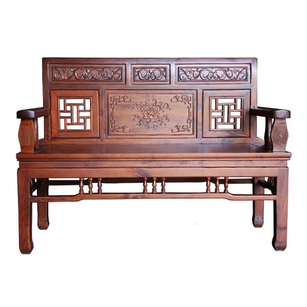 โซฟาไม้ 2ที่นั่งแกะลายแบบจีนโบราณ