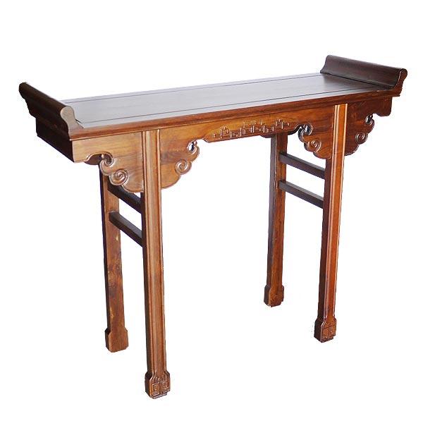 โต๊ะไหว้เจ้าไม้ปลายงอนแกะลายเมฆแบบจีน 125 ซม.