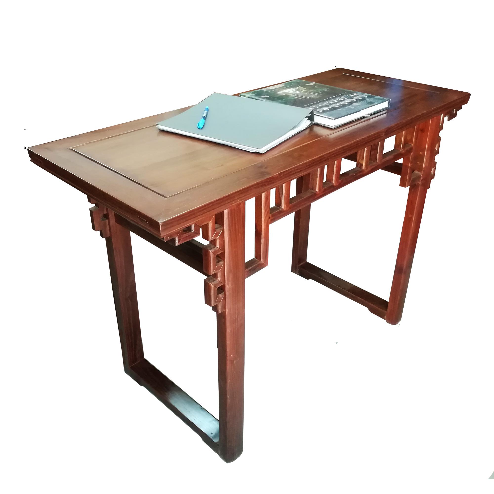 โต๊ะคอนโซลไม้ลายเหลี่ยมสไตล์จีนโมเดิร์น 120 ซม.