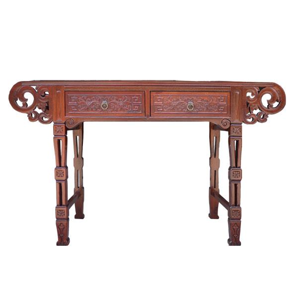 โต๊ะคอนโซลไม้หัวม้วนแกะลายแบบจีน 135 ซม.