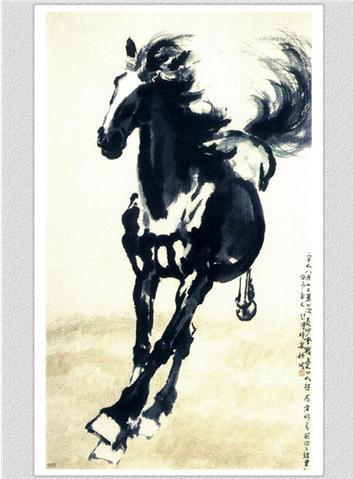 ภาพรูปวาดม้าแปดตัว-ม้ามงคล-หมึกจีน-xubeihong