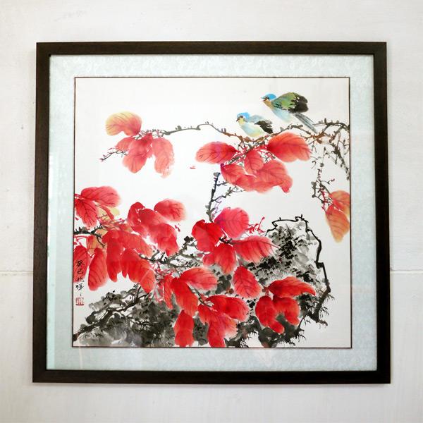 ภาพวาดหมึกจีนรูปใบไม้แดง