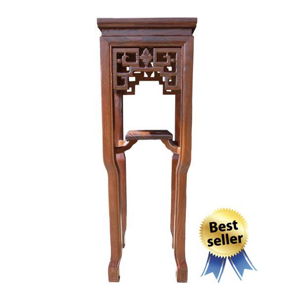 โต๊ะวางแจกันไม้ทรงขาสิงห์แกะลายจีนสูง 80 ซม.