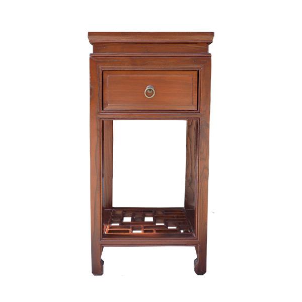 โต๊ะข้างไม้ 1ลิ้นชักแต่งห่วงทองเหลืองสไตล์จีน 38 ซม.