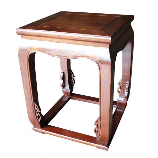 โต๊ะข้างไม้จริงทรงโปร่งแต่งลวดลายจีน 45 ซม.