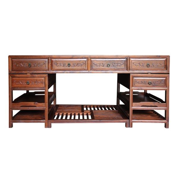 โต๊ะทำงานไม้จริง6 ลิ้นชักสไตล์จีน 180 ซม.