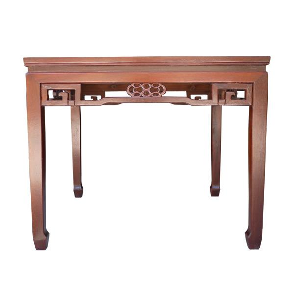 โต๊ะไม้ทรงจัตุรัสแต่งลวดลายแบบจีน 100 ซม.