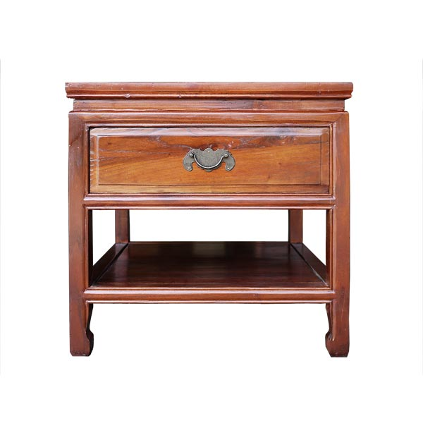โต๊ะข้างไม้มีลิ้นชักแต่งมือจับทองเหลืองแบบจีน 50 ซม.